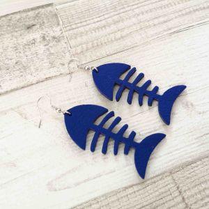 Fishbone királykék színű fülbevaló