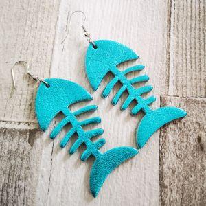 Fishbone metál türkiz fülbevaló