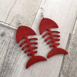 Fishbone metál piros fülbevaló