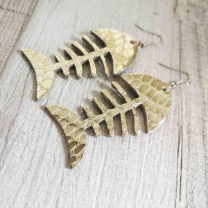 Fishbone pikkelyes arany színű fülbevaló