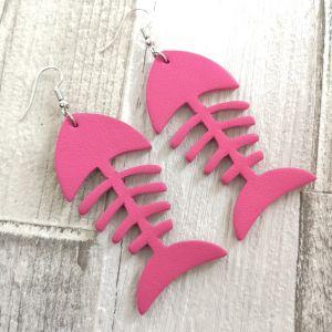Fishbone pink fülbevaló