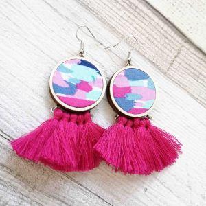 Foltos fülbevaló - pink rojttal