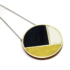Arany, ezüst, farmer - hosszú nyaklánc, osztott medállal