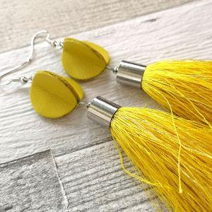 Elegáns selyemrojtos fülbevaló - sárga
