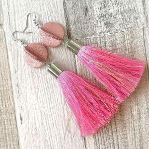 Elegáns selyemrojtos fülbevaló - rózsaszín