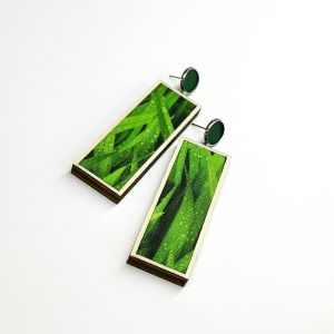 Woodstock - leaves - zöld mintás fülbevaló - nagy