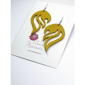 Meleg sárga láng design bõr fülbevaló