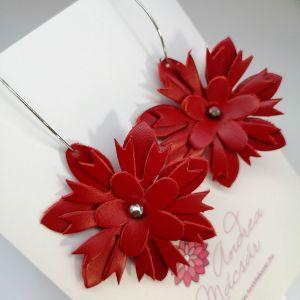 Piros virág bomba fülbevaló