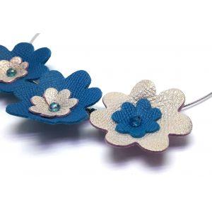 Kék, arany bőr virágos nyakperec - bőr ékszer
