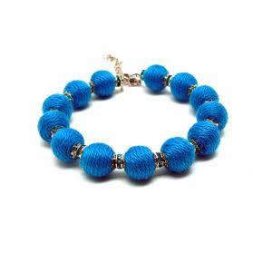 Kék golyós karkötő csillogó gyöngyökkel