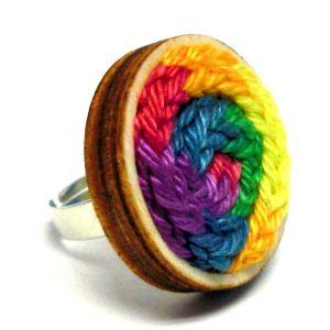 Kötött gyűrű - színes