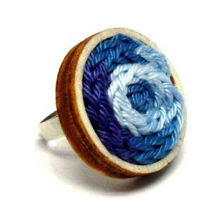 Kötött gyűrű - kék színátmenetes
