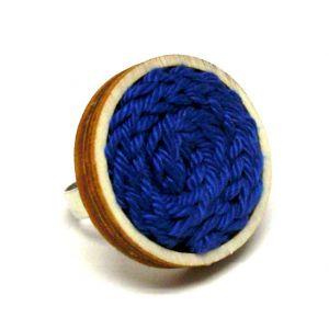 Kötött gyűrű - kék