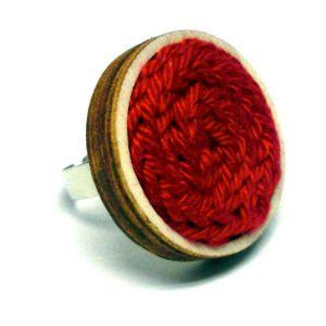 Kötött gyűrű - piros