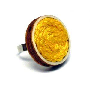 Kötött gyűrű - sárga