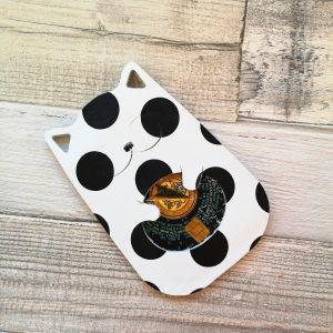 Kártyatartó cica - fehér alapon fekete pöttyös