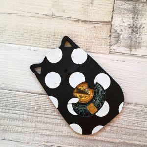 Kártyatartó cica  - fekete alapon fehér pöttyös - valódi bőr