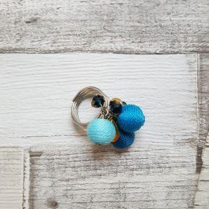 Kék türkiz bohó gyűrű