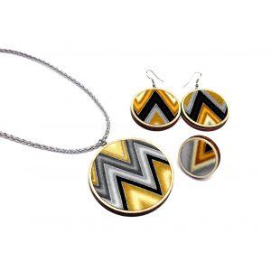 Ezüst, arany, fekete cikcakk mintás nyaklánc és fülbevaló