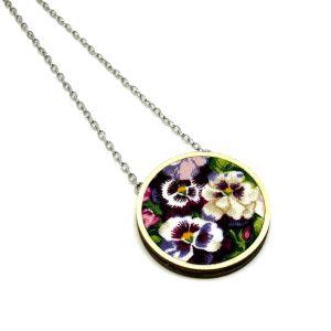Árvácskák nyaklánc - fehér, lila, bordó