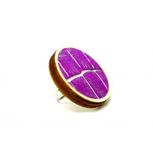 Lila lakk bőrrel készült fa gyűrű