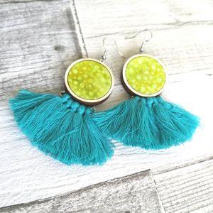Lime-türkiz rojtos classic fülbevaló