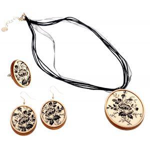 Fekete/ fehér rózsás ékszer szett -  nyaklánc, fülbevaló, gyűrű