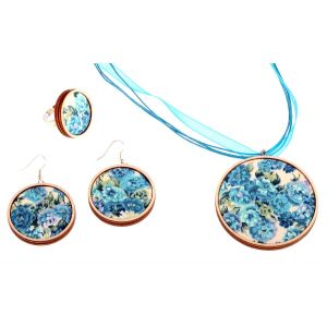 Kék virágos szett - nyaklánc, fülbevaló, gyűrű