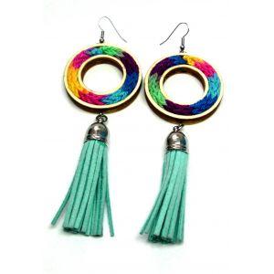 Multicolor - színes kötött fülbevaló türkiz bőr bojttal