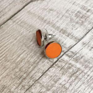 Narancs pötty Kitti fülbevaló valódi bőrből