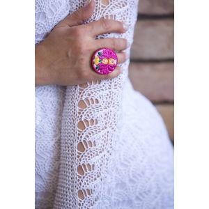 Kézzel hímzett matyó mintás design gyűrű - pink