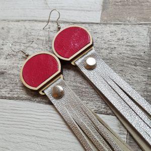 Pink-ezüst hosszú rojtos bőr fülbevaló