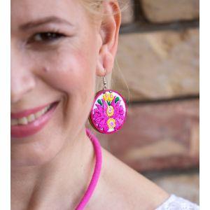Kézzel hímzett matyó mintás design fülbevaló - pink