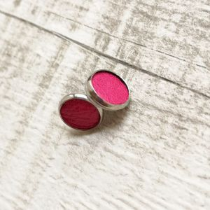 Pink pötty Kitti fülbevaló valódi bőrből