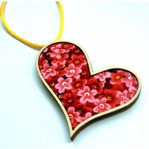 Pink és sárga - trendi szív nyaklánc