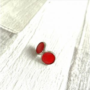 Poppy- Piros pötty Kitti fülbevaló valódi bőrből