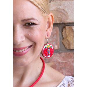 Kézzel hímzett matyó mintás design fülbevaló - piros