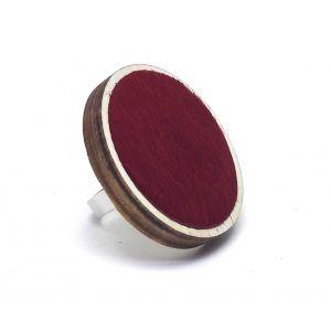 Piros bociszőrös bőr gyűrű