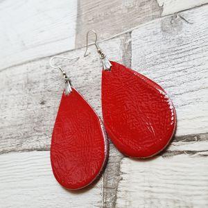 Piros lakk nagy csepp valódi bőr fülbevaló