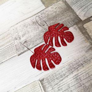 Piros monstera fülbevaló csodás valódi bőrből