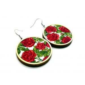 Piros rózsás fülbevaló