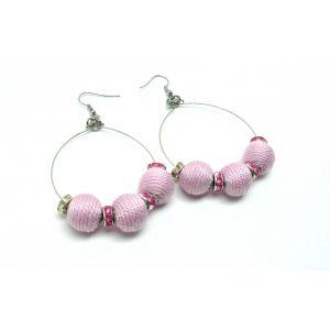 Golyós fülbevaló csillogó gyöngyökkel - rózsaszín