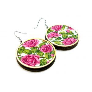 Rózsaszín rózsás fülbevaló