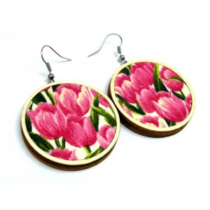 Rózsaszín tulipánmező - design fülbevaló TÖBB MÉRET!