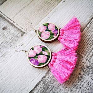 Rózsaszín rojtos tulipános fülbevaló
