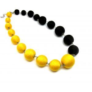 Sárga barna golyós nyaklánc