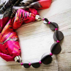 Selyemkendő ékszer ezüst-pink