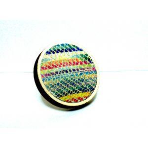 Színes bőrrel készült fa gyűrű - statement gyűrű
