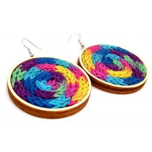 5 cm-es színes fonallal készült fülbevaló
