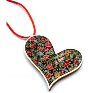 Virágos rét - design ékszer, ferde szív nyaklánc